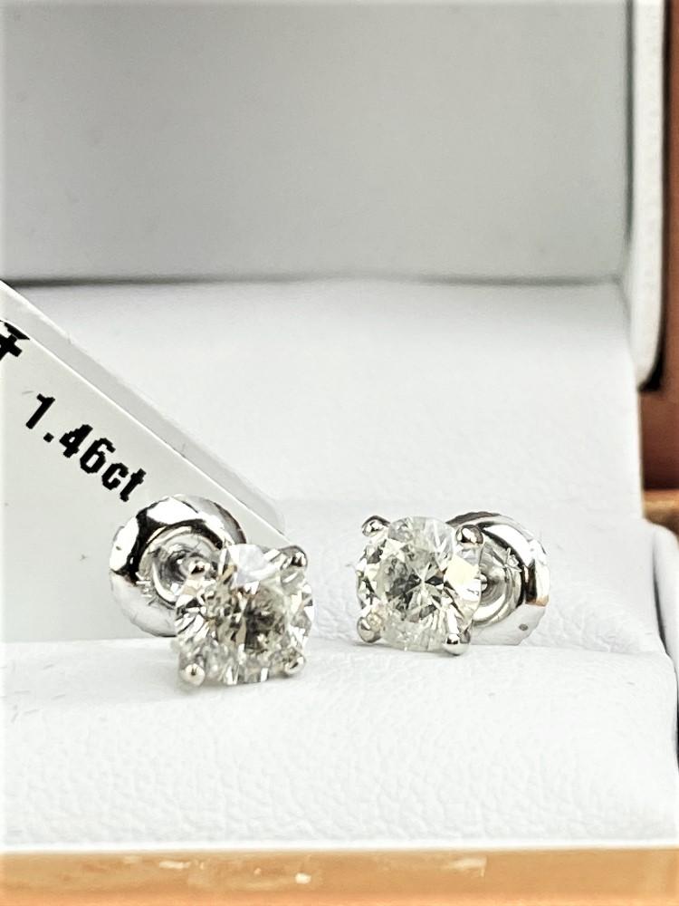 Pair of New 1.46 Carat Round Cut VS1/D Diamond Stud Earrings On 14K Hallmarked White Gold