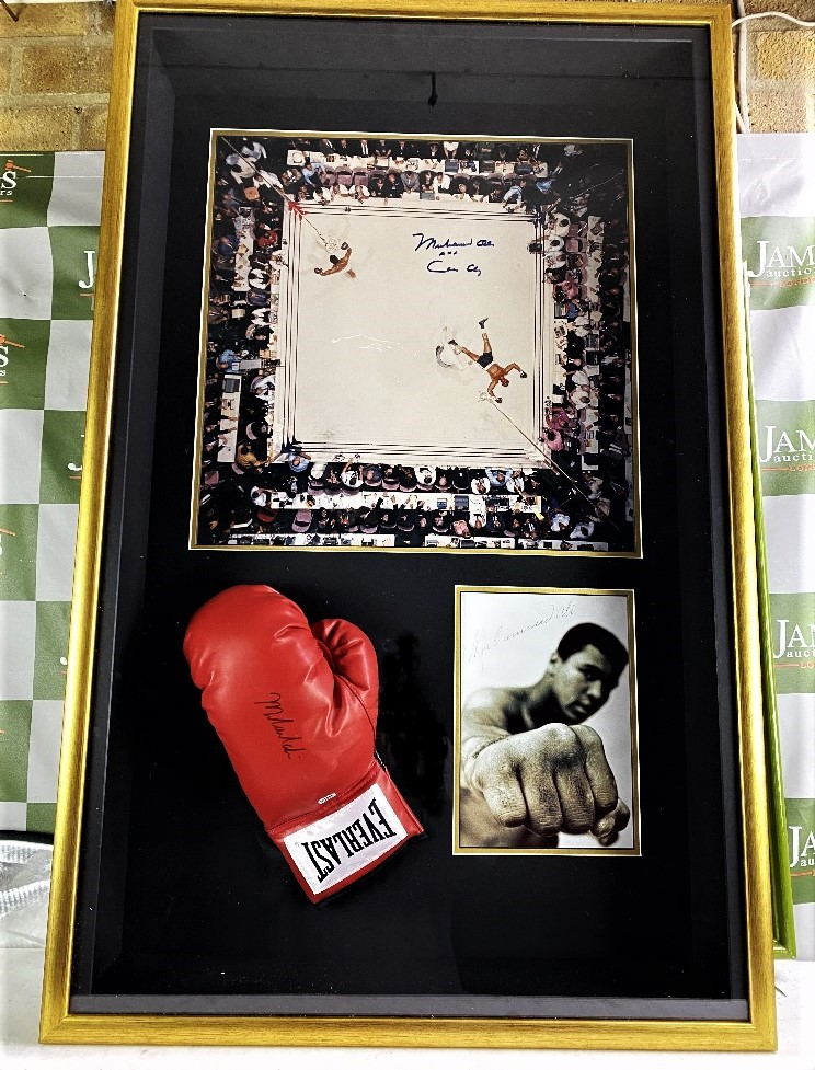 Muhammed Ali Vs Cleveland Williams-Signed 60`s Ring Magazine Photo & Glove Montage