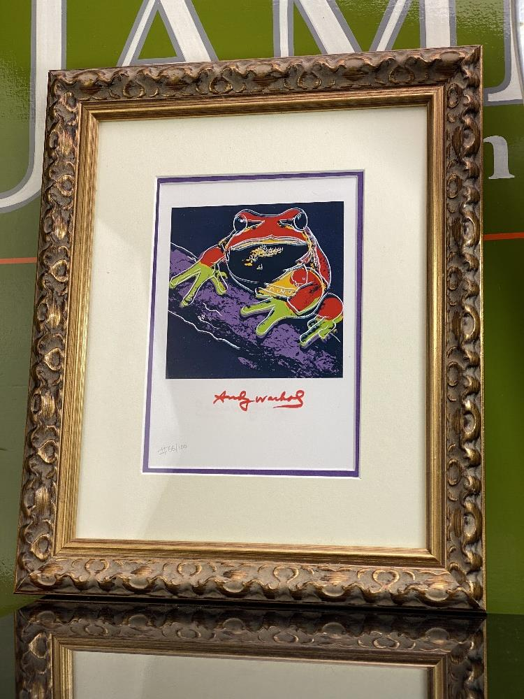 """Andy Warhol 1984 """" Frog"""" Numbered Lithograph, Plate Signed. Ornate framed. - Image 2 of 2"""