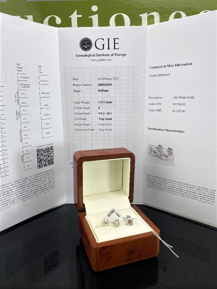 Pair of New 1.93 Carat Round Cut VS2/F Diamond Stud Earrings On 14K Hallmarked White Gold