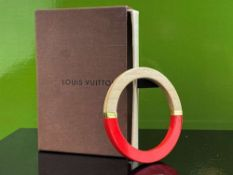 Louis Vuitton Red And Wood Bangle Bracelet With Gold Trim