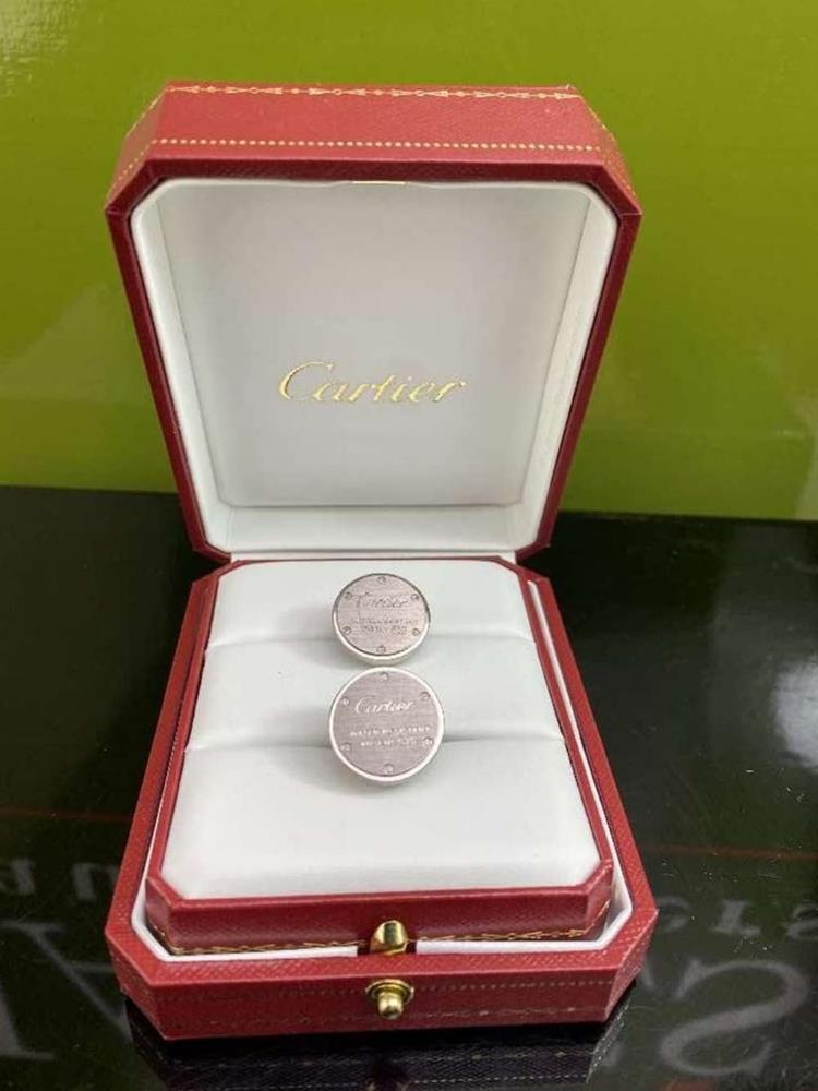 """Cartier Sterling Silver Cufflinks """"Water Resistant 925"""" Edition - Image 3 of 4"""