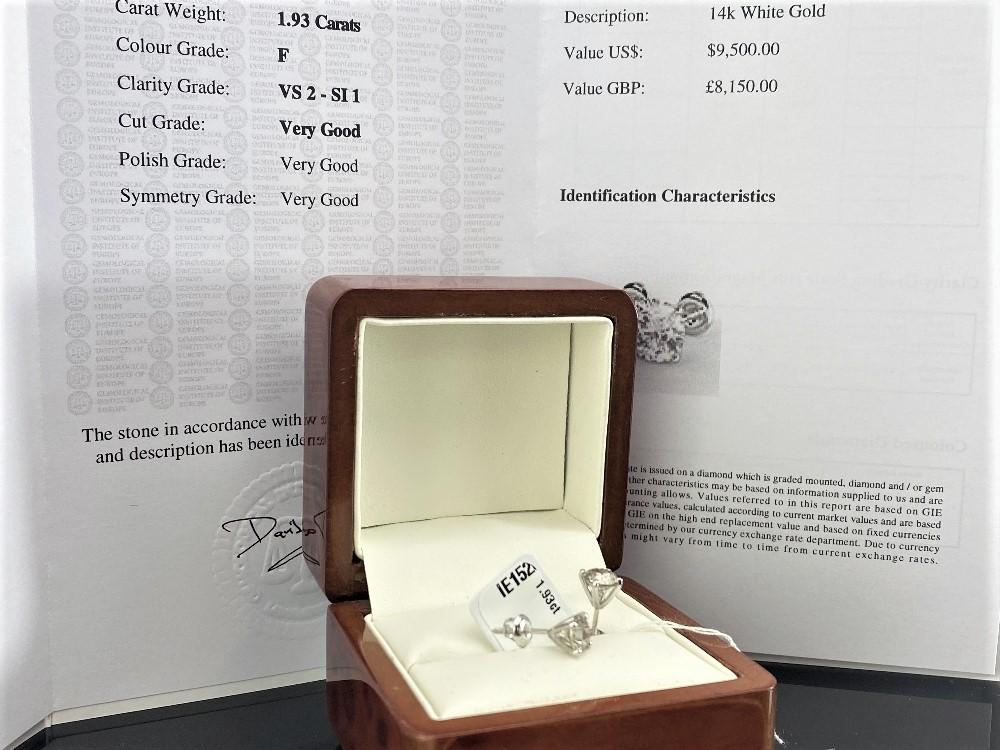 Pair of New 1.93 Carat Round Cut VS2/F Diamond Stud Earrings On 14K Hallmarked White Gold - Image 5 of 5