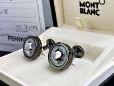Montblanc Smoked Contemporary and Silver Classic Cufflinks, Ex display