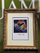 """Andy Warhol 1984 """" Frog"""" Numbered Lithograph, Plate Signed. Ornate framed."""