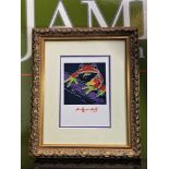 "Andy Warhol 1984 "" Frog"" Numbered Lithograph, Plate Signed. Ornate framed."