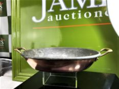 Large French Vintage Lined Copper Gratin Pan