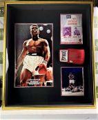 Muhammad Ali Signed Boxing Glove & Photo Vs Sonny Liston Montage