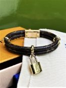 "Louis Vuitton ""Keep It Twice""- Gold Plated & Classic Monogram Bracelet"