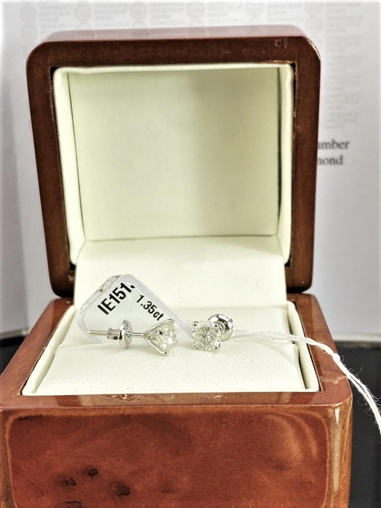 Pair of New 1.35 Carat Round Cut VS2/E Diamond Stud Earrings On 14K Hallmarked White Gold - Image 4 of 7