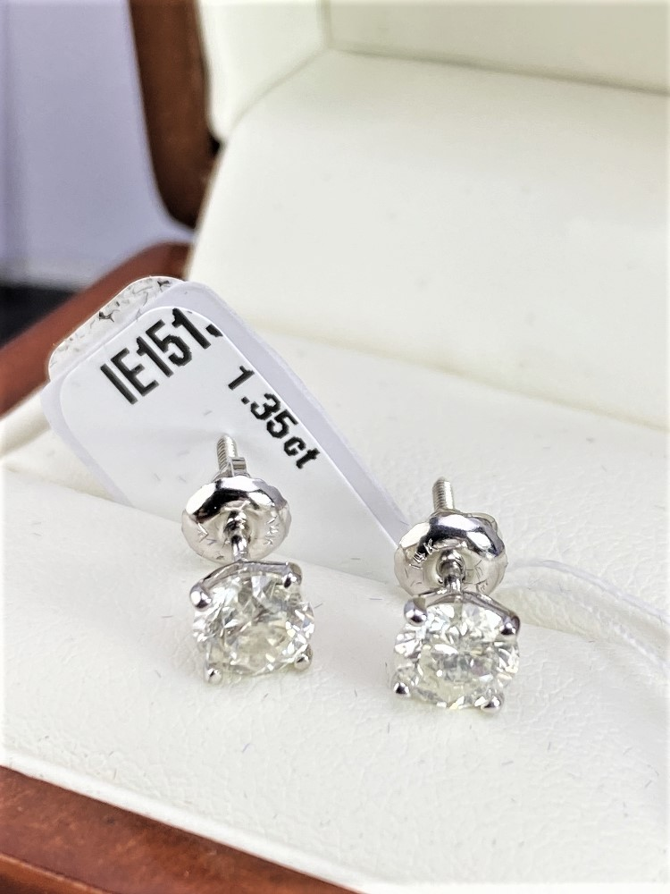 Pair of New 1.35 Carat Round Cut VS2/E Diamond Stud Earrings On 14K Hallmarked White Gold
