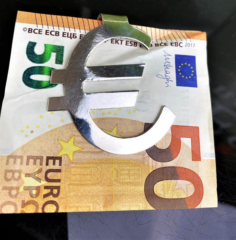 Vintage Sterling Silver Money Clip Euro Logo Art Deco