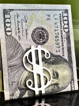 Vintage Sterling Silver Money Clip American Dollar Art Deco