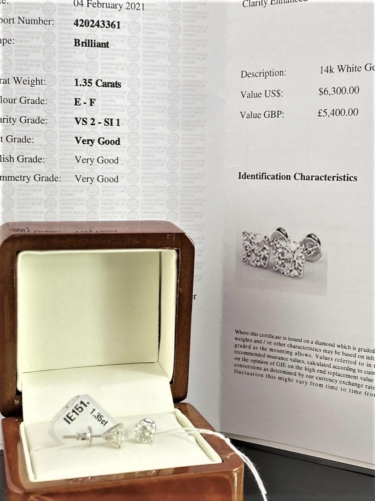 Pair of New 1.35 Carat Round Cut VS2/E Diamond Stud Earrings On 14K Hallmarked White Gold - Image 7 of 7