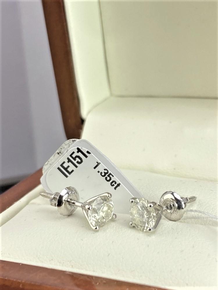 Pair of New 1.35 Carat Round Cut VS2/E Diamond Stud Earrings On 14K Hallmarked White Gold - Image 6 of 7