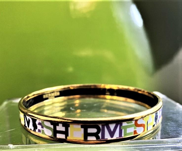 Hermes Capitale Narrow Gold Plated Bangle - Image 6 of 7