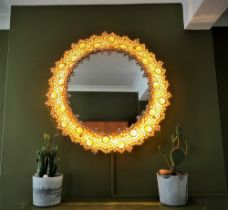 Palwa Original 60`s Vintage Cystal Illuminated Decorative Mirror-