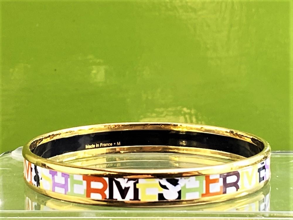 Hermes Capitale Narrow Gold Plated Bangle - Image 4 of 7