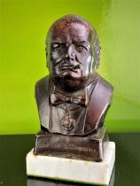 Bronze Bust Winston S Churchill Signed By Artist-R A Pickering1949