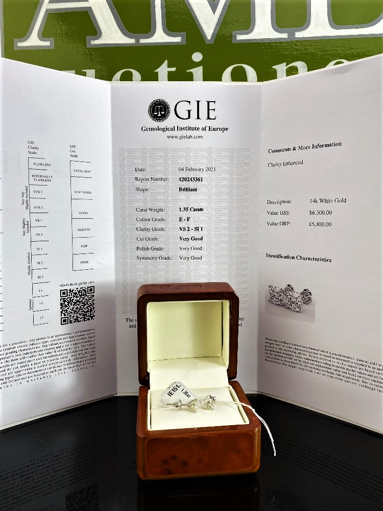 Pair of New 1.35 Carat Round Cut VS2/E Diamond Stud Earrings On 14K Hallmarked White Gold - Image 2 of 7