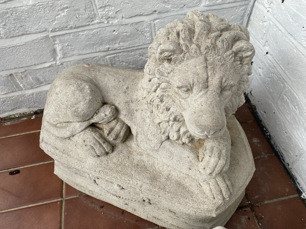 Pair of Matching Stone Lions on Pedestal - Image 2 of 2