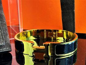 "Hermes ""H"" Black & Gold Plated Classic Bracelet"