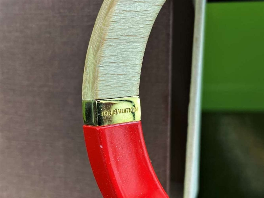 Louis Vuitton Red And Wood Bangle Bracelet With Gold Trim - Image 2 of 5