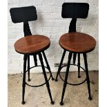 Pair of Contemporary Adjustable Bar Stools-Solid Wood