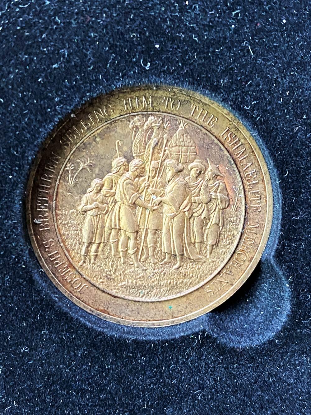 Set Of 24 Bronze Art Medallions Thomason Bible Franklin Mint-Original Case - Image 4 of 5