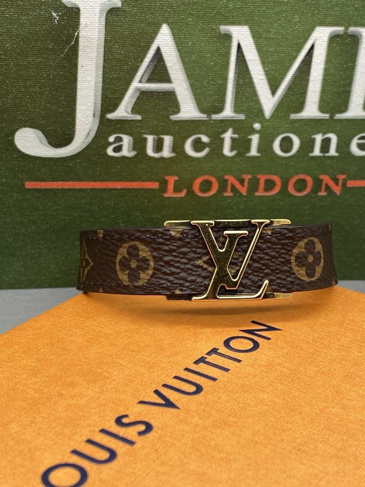 Louis Viitton Classic Monogram & Gold Plated LV Emblem Bracelet. - Image 5 of 6