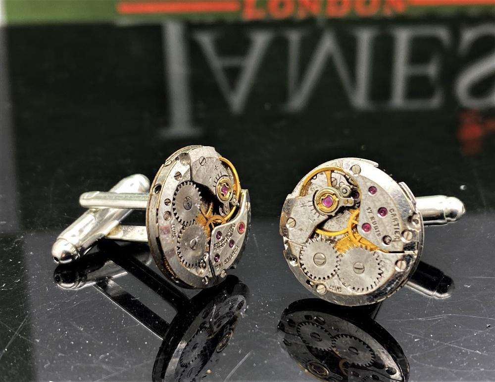 Cartier Paris Vintage Watch Movement Cufflinks on Silver Mounts - Image 5 of 6