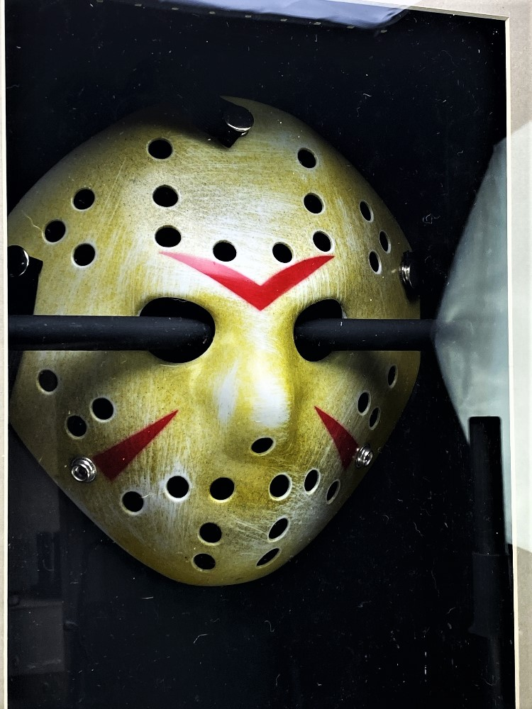 Signed 3D Friday the 13th Jason Display With Mask & Machete led lighting - Image 4 of 6