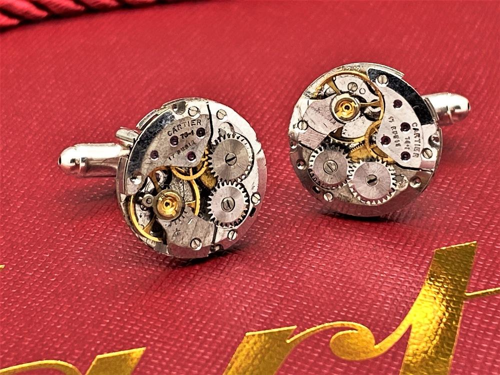 Cartier Paris Vintage Watch Movement Cufflinks on Silver Mounts - Image 6 of 6
