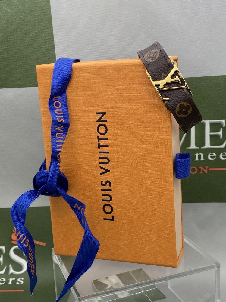 Louis Viitton Classic Monogram & Gold Plated LV Emblem Bracelet. - Image 6 of 6