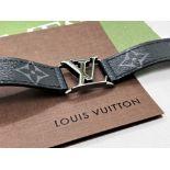 Louis Vuitton Hockenheim Bracelet Leather Monogram Silver Logo