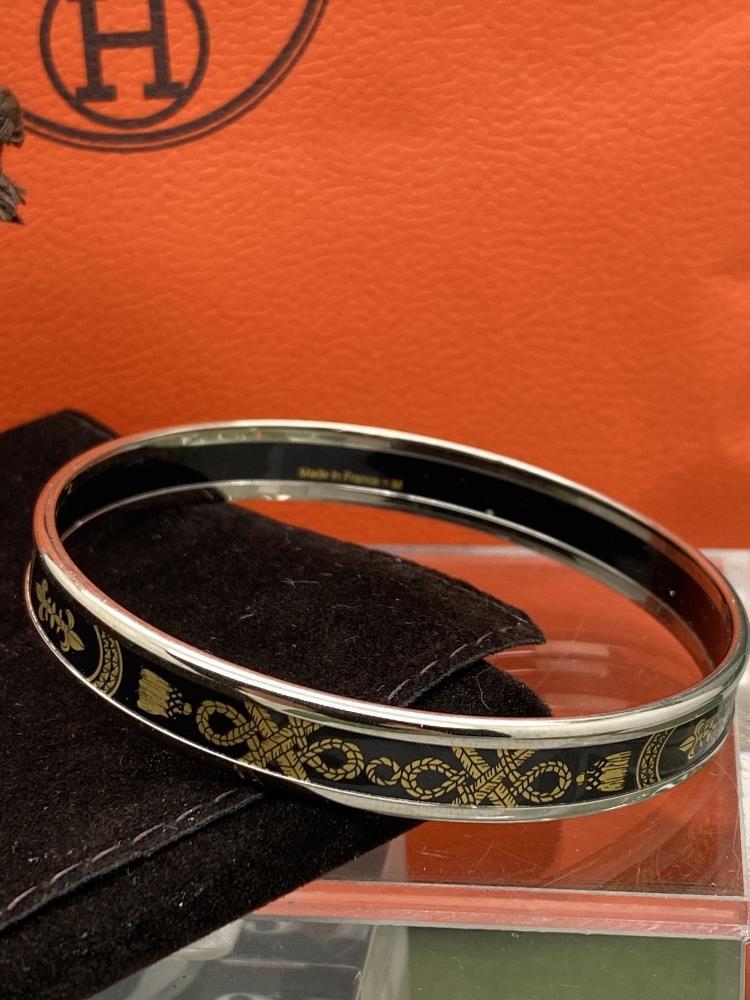 "Hermes ""Fluer De Lis"" Classic Monogram & Silver Bracelet - Image 4 of 6"
