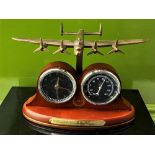 Bradford Exchange RAF Lancaster 75th Anniversary Clock & Temperature Gauge Display