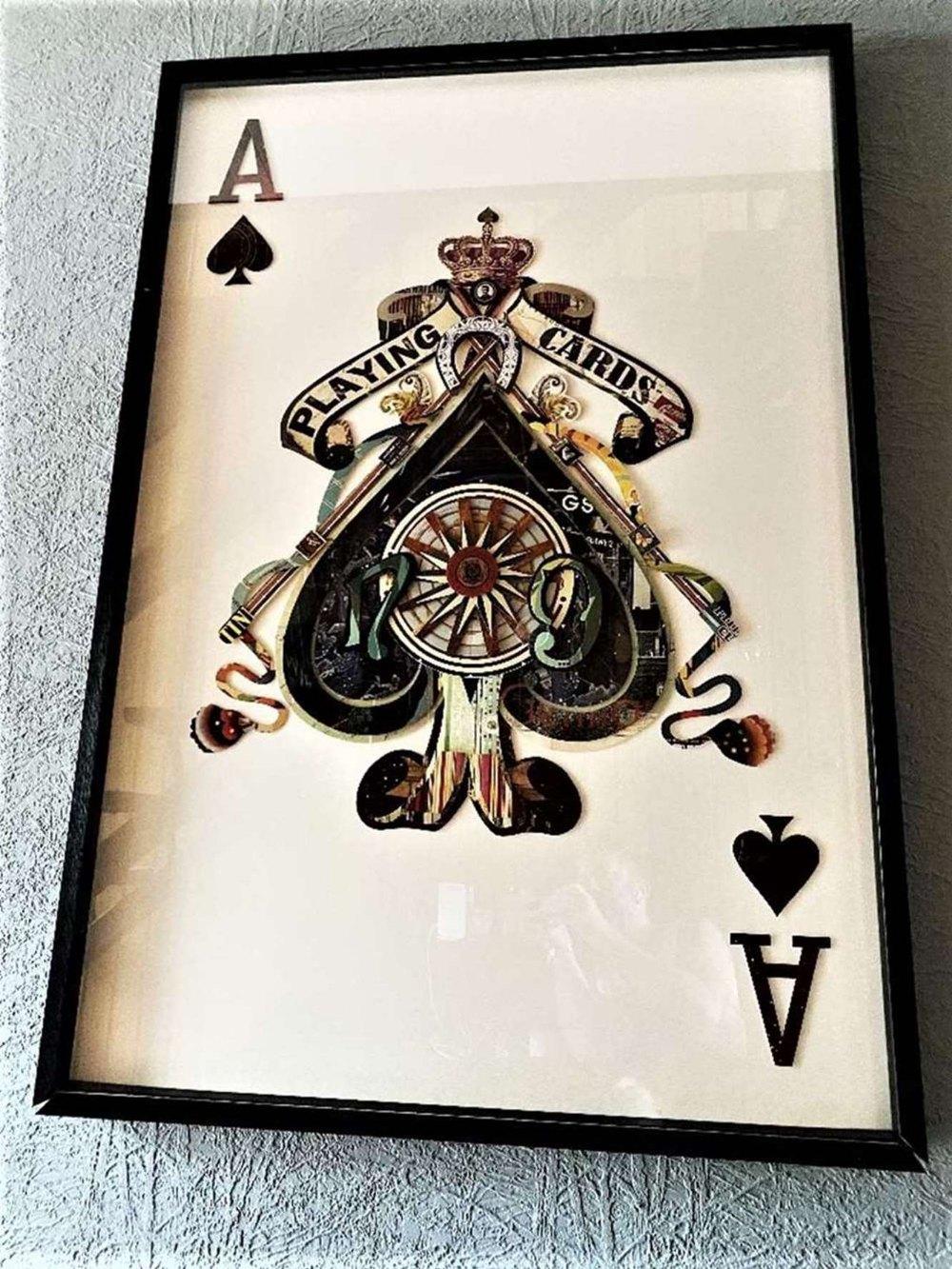 "Stunning & Huge 59 x 37 Inch Decoupage ""Ace of Spades"" Display- Blackjack Set"