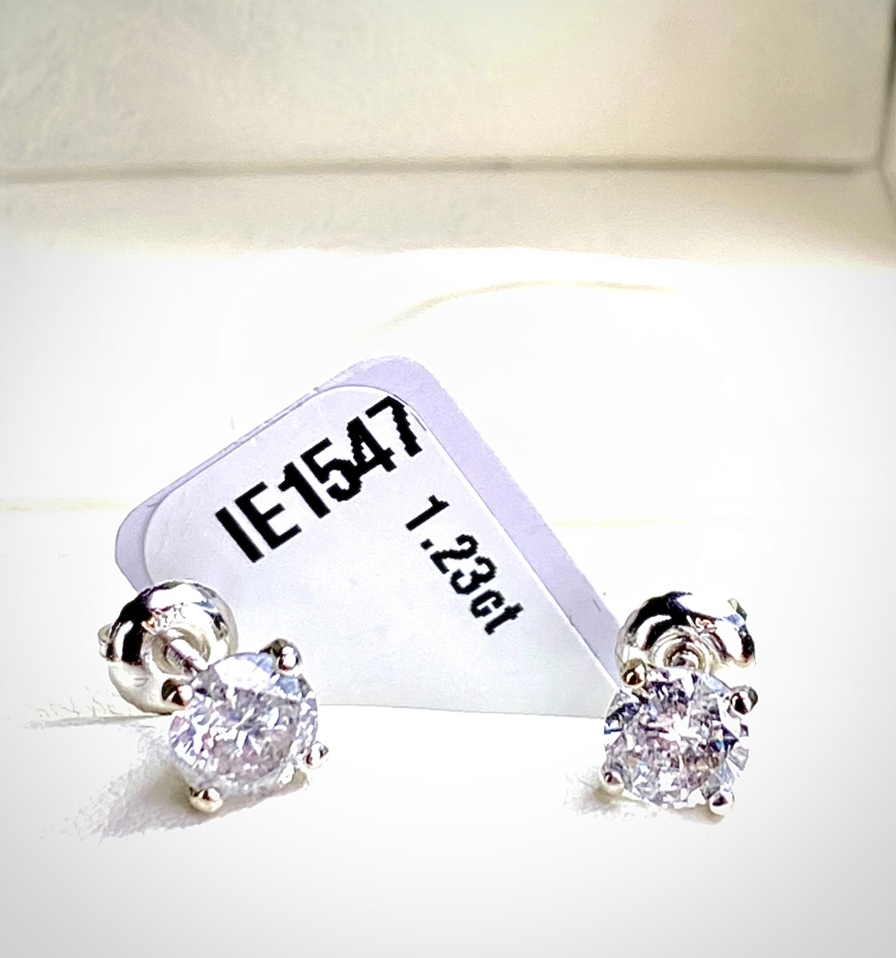 Pair of New 1.23 Carat Round Cut VS2/D Diamond Stud Earrings On 14K Hallmarked White Gold