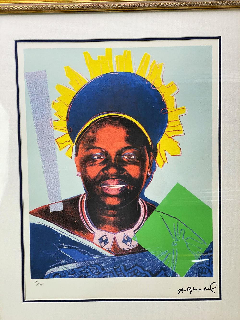 """Andy Warhol (1928-1987) """"Reigning Queens"""" Numbered Lithograph 59/100, Ornate Framed. - Image 2 of 6"""