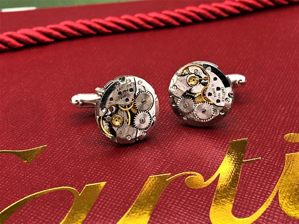 Cartier Paris Vintage Watch Movement Cufflinks on Silver Mounts