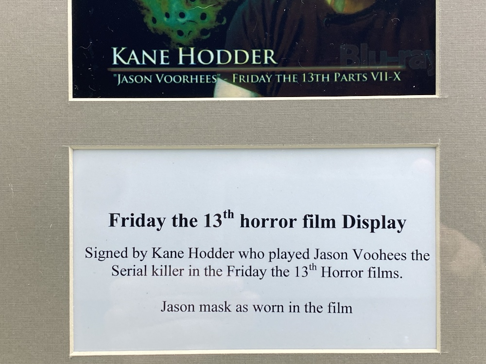 Signed 3D Friday the 13th Jason Display With Mask & Machete led lighting - Image 2 of 6