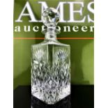 Mappin and Webb Square Shaped English Hand Cut Crystal Decanter