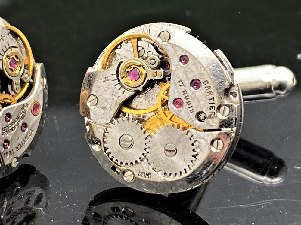 Cartier Paris Vintage Watch Movement Cufflinks on Silver Mounts - Image 2 of 6