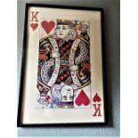 "Stunning & Huge 59 x 37 Inch Decoupage ""King Of Hearts"" Display- Blackjack Set"