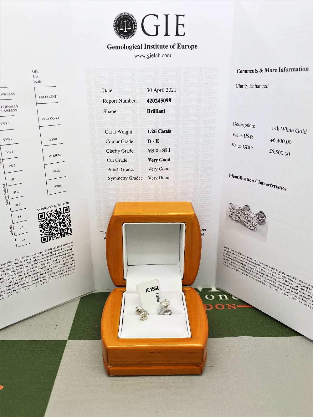 Pair of New 1.36 Carat Round Cut VS2/D Diamond Stud Earrings On 14K Hallmarked White Gold