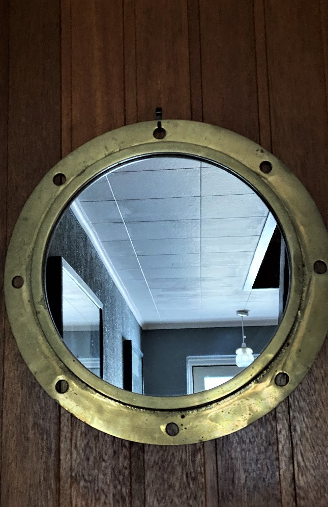 Authentic Vintage Heavy Brass Porthole With Mirror - Image 2 of 2