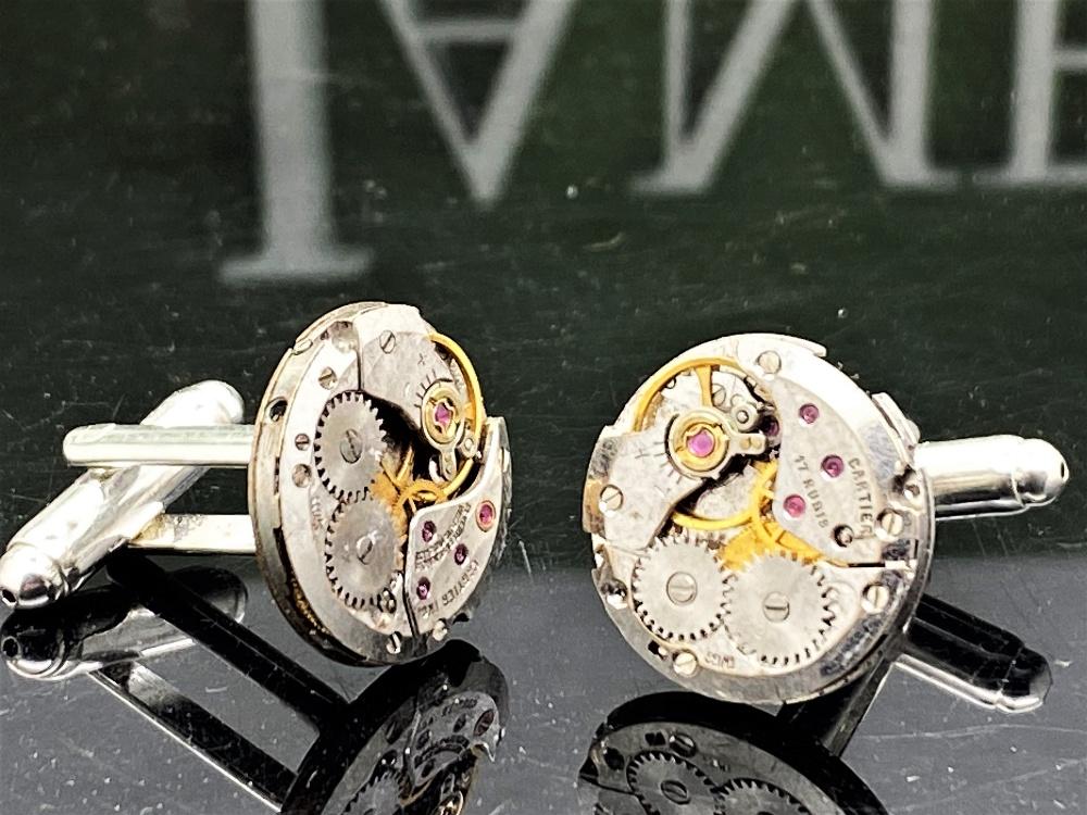 Cartier Paris Vintage Watch Movement Cufflinks on Silver Mounts - Image 3 of 6