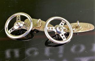 Vintage Sterling Silver Cufflinks Car Racing Steering Wheels