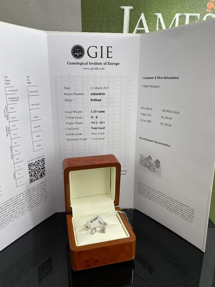 Pair of New 1.23 Carat Round Cut VS2/D Diamond Stud Earrings On 14K Hallmarked White Gold - Image 2 of 4